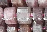 CRB2061 15.5 inches 9mm - 10mm faceted tyre strawberry quartz beads