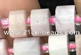 CRB2066 15.5 inches 9mm - 10mm faceted tyre kunzite gemstone beads