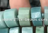 CRB2116 15.5 inches 9mm - 10mm faceted tyre amazonite beads