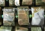 CRB2122 15.5 inches 11mm - 12mm faceted tyre rhyolite gemstone beads