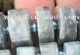 CRB2127 15.5 inches 11mm - 12mm faceted tyre kyanite beads