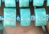 CRB2162 15.5 inches 11mm - 12mm faceted tyre amazonite gemstone beads