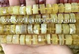 CRB2173 15.5 inches 13mm - 14mm faceted tyre yellow opal beads