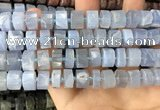 CRB2187 15.5 inches 10mm - 11mm faceted tyre blue chalcedony beads