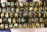 CRB2199 15.5 inches 12mm - 13mm faceted tyre yellow tiger eye beads