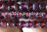 CRB2601 15.5 inches 2*3mm faceted rondelle red garnet beads