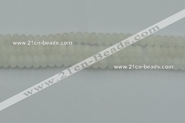 CRB2812 15.5 inches 6*10mm rondelle white jade beads wholesale