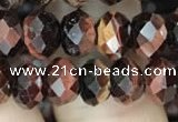 CRB3043 15.5 inches 6*8mm faceted rondelle red tiger eye beads