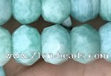 CRB3073 15.5 inches 7*10mm faceted rondelle amazonite gemstone beads