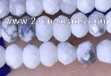 CRB3165 15.5 inches 2.5*4mm faceted rondelle tiny white howlite beads