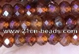 CRB3186 15.5 inches 3*5mm faceted rondelle tiny orange garnet beads