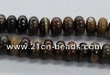 CRB35 15.5 inches 6*10mm rondelle iron zebra jasper beads