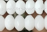CRB4113 15.5 inches 5*8mm faceted rondelle white porcelain beads