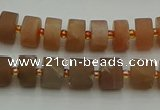 CRB463 15.5 inche 6*10mm tyre matte moonstone gemstone beads