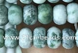 CRB5008 15.5 inches 4*6mm rondelle matte green spot stone beads