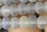 CRB5015 15.5 inches 4*6mm rondelle matte grey agate beads wholesale