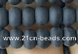 CRB5016 15.5 inches 4*6mm rondelle matte black agate beads wholesale