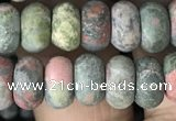 CRB5023 15.5 inches 4*6mm rondelle matte unakite beads wholesale