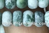 CRB5058 15.5 inches 5*8mm rondelle matte green spot stone beads