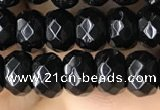 CRB5113 15.5 inches 4*6mm faceted rondelle black agate beads