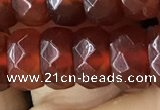 CRB5162 15.5 inches 5*8mm faceted rondelle red agate beads