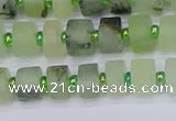 CRB524 15.5 inches 5*8mm tyre matte green rutilated quartz beads