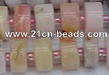 CRB545 15.5 inches 7*14mm tyre natural pink opal gemstone beads