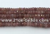 CRB5623 15.5 inches 6*10mm faceted rondelle strawberry quartz beads