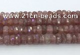CRB5624 15.5 inches 6*12mm faceted rondelle strawberry quartz beads