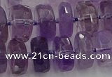 CRB567 15.5 inches 8*14mm faceted rondelle amethyst beads