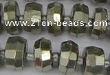 CRB598 15.5 inches 7*12mm faceted rondelle pyrite beads