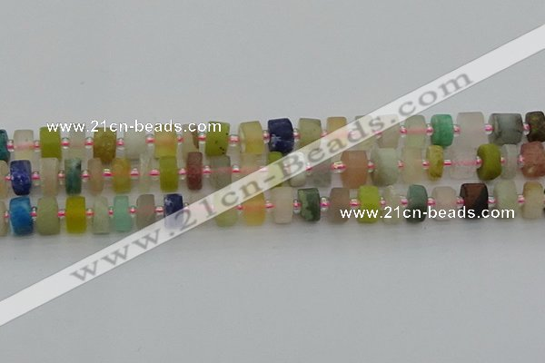 CRB679 15.5 inches 5*8mm tyre matte mixed gemstone beads