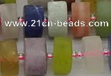 CRB683 15.5 inches 8*16mm tyre matte mixed gemstone beads