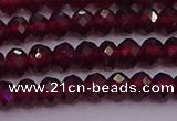 CRB718 15.5 inches 3*4mm faceted rondelle red garnet beads