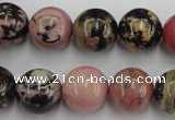 CRD05 15.5 inches 14mm round natural rhodonite gemstone beads