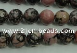 CRD14 15.5 inches 10mm faceted round rhodonite gemstone beads