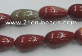 CRE04 16 inches 10*20mm teardrop natural red jasper beads wholesale