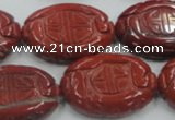CRE19 16 inches 22*30mm carved oval natural red jasper beads wholesale