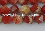 CRE346 15.5 inches 8mm faceted nuggets red jasper beads