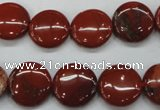 CRE35 15.5 inches 14mm flat round red jasper beads wholesale