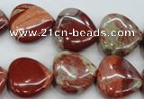 CRE42 15.5 inches 20*20mm heart red jasper beads wholesale