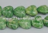 CRF212 15.5 inches 14*14mm heart dyed rain flower stone beads