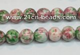 CRF24 15.5 inches 10mm round dyed rain flower stone beads wholesale