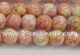 CRF316 15.5 inches 8mm round dyed rain flower stone beads wholesale