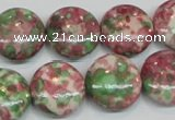 CRF32 15.5 inches 16mm flat round dyed rain flower stone beads