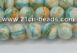 CRF394 15.5 inches 8mm round dyed rain flower stone beads wholesale