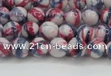 CRF405 15.5 inches 6mm round dyed rain flower stone beads wholesale