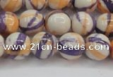 CRF414 15.5 inches 12mm round dyed rain flower stone beads wholesale