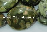 CRH50 15.5 inches 30*40mm flat teardrop rhyolite beads wholesale