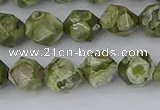 CRH536 15.5 inches 8mm faceted nuggets rhyolite gemstone beads